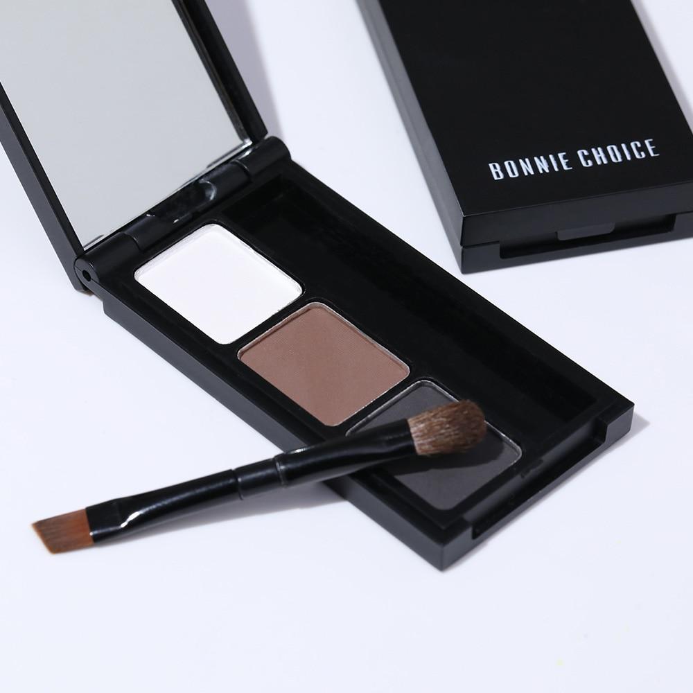 BONNIE CHOICE 2 Color Eyebrow Enhancer Pro Makeup Eyebrows powder Long-lasting Waterproof With Brush Mirror Cosmetic Kits 3