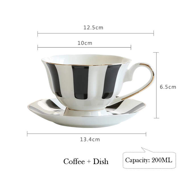0c40150894e Black and White Hepburn Vintage Striped Bone China Coffee Cup Europe  Porcelain Tea Cup Saucer Set 200ml Mug Tray Party Drinkware-in Mugs from  Home & Garden ...
