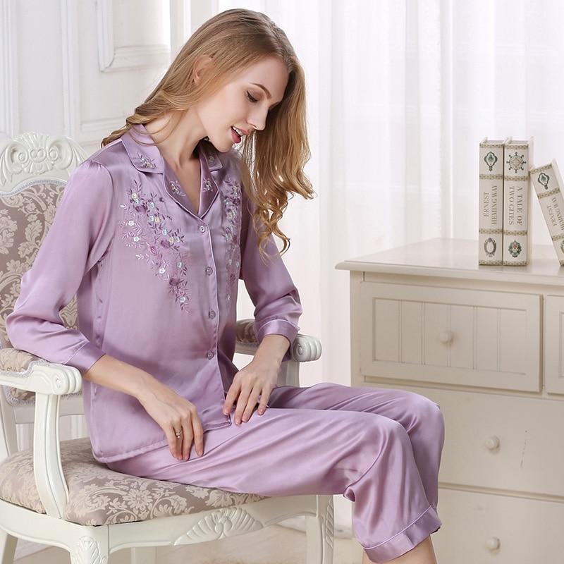 dámské hedvábné pyžamo Sady sexy emboridery tisk růžový pyžamový set pro ženy hedvábné noční spacáky plus velikost fialový dámský spánek