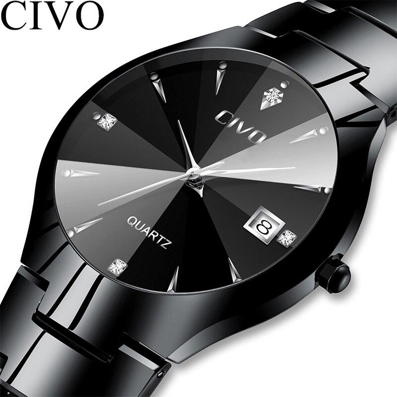 CIVO Luxury Couple Watches Black Silver Full Steel Waterproof Date Quartz Watch Men For Man Women Clock Gift For Lover Wife