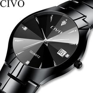 Image 3 - Civo 럭셔리 커플 시계 블랙 실버 전체 철강 방수 날짜 쿼츠 시계 남자 남자 여자 시계 연인 아내를위한 선물