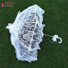 White /Pink Lace Manual Opening Wedding Umbrella Bridal Parasol Umbrella Accessories For Wedding Bridal Shower Umbrella DQG100