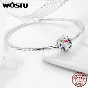 Image 4 - WOSTU haute qualité réel 925 en argent Sterling Licorne Bracelet à breloques pour les femmes ajustement Original marque bricolage perles Bracelet bijoux CQB083