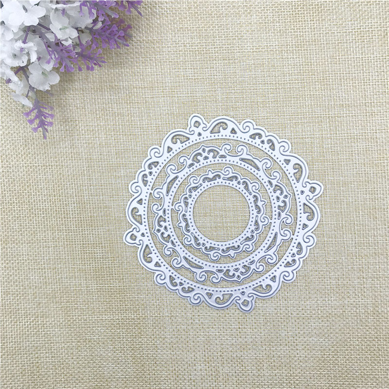 Julyarts 3Pcs Irregular Figure Circle Flower Metal Cutting Die Stencil Scrapbooking Card Making Crafts Cut Stitch