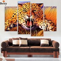 Unframde Abstract Leopards Modern Home Wall Decor Canvas Picture Art HD Print Painting Set Of 4
