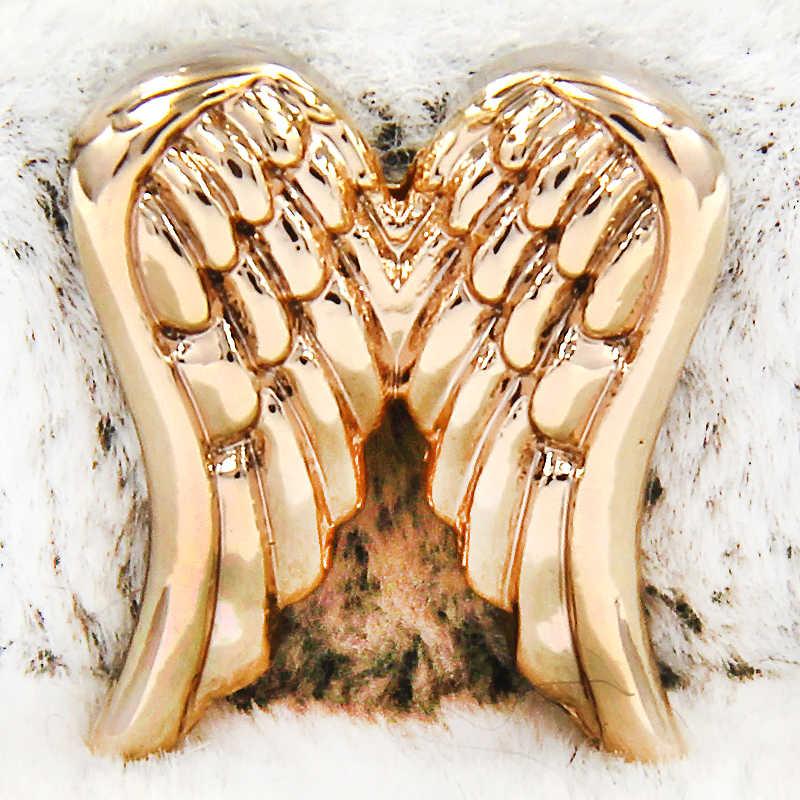 Yukam jóias de prata cor pena anjo asas corrediça encantos keeper para reversível couro envoltório malha pulseiras acessórios fazendo