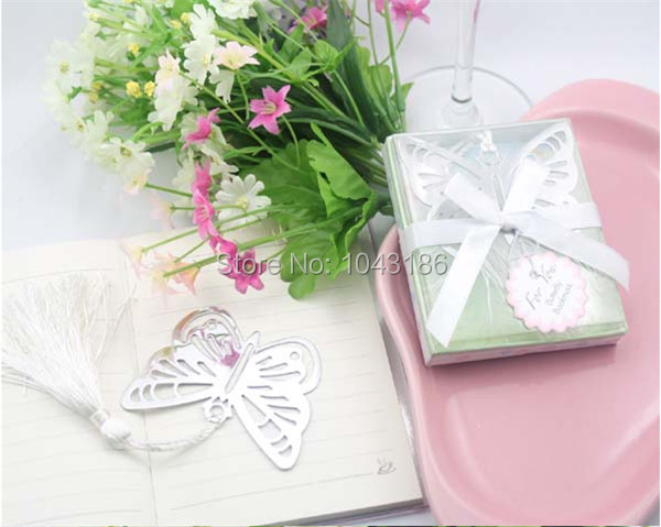 Wedding Favor bridal baby shower party gift Practical Reading Essential Butterfly Metal Bookmark With Boxed Picture Color 100pcs