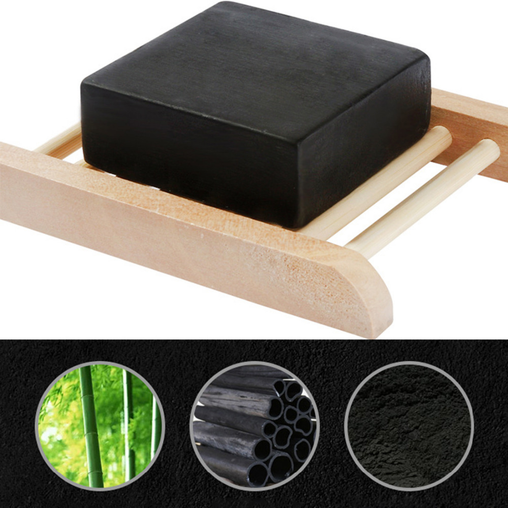 Black Square Natural Bamboo Charcoal Handmade Soap Face Washing Deep Cleaning Pore Blackhead Acne Remover Oil-control Bath Soap