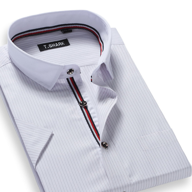 Summer 2016 Men's Short-Sleeve Striped Dress Shirt Patchwork White Collar Classic-fit Comfort Soft Modal Business Formal Shirts