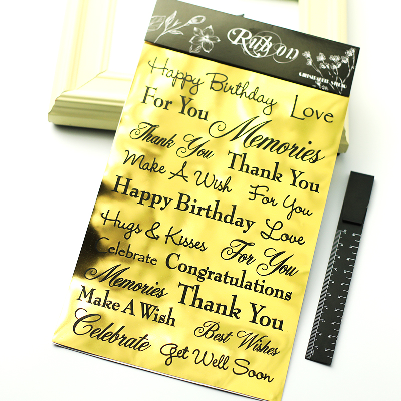 KSCRAFT Gold Happy Birthday Rub On for Scrapbooking DIY Projects/Photo Album/Card Making Crafts