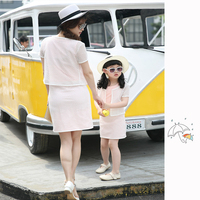 2018 Mom Daughter Dress Set Summer Parents And Children Outfit Mom And Daughter Matching Clothes Family