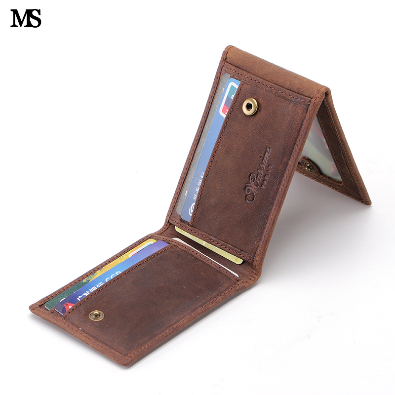 MS Fashion Design Crazy Horse Leather Vintage Men Trifold Wallet ID Credit Card Bag Slim Money Clip Hasp Small Wallet K138
