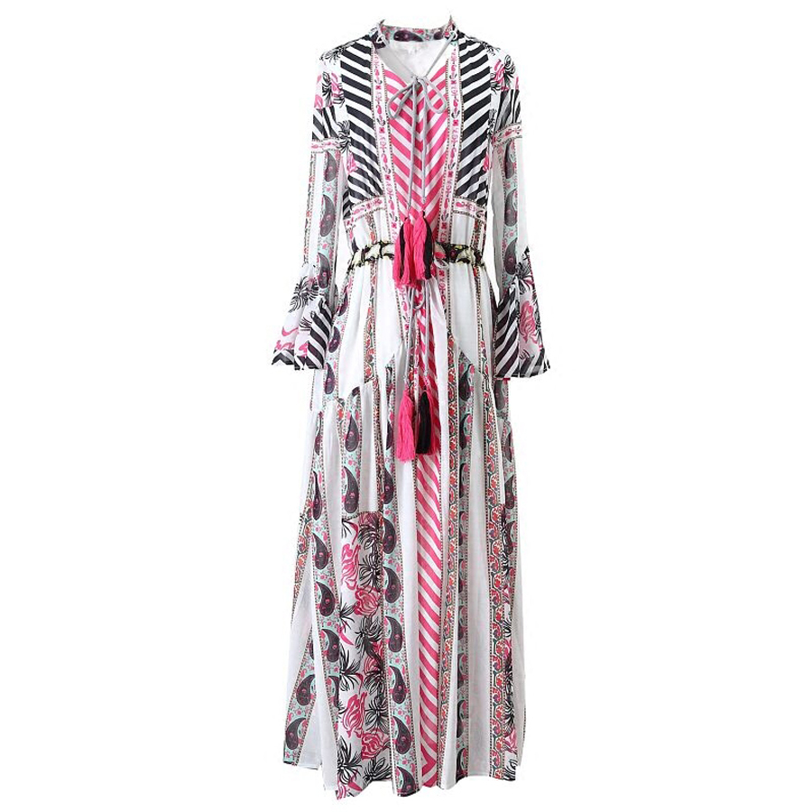 TEELYNN maxi boho dress 2019 spring vintage floral print Chiffon long dresses long sleeve Drawstring waist Hippie women dresses