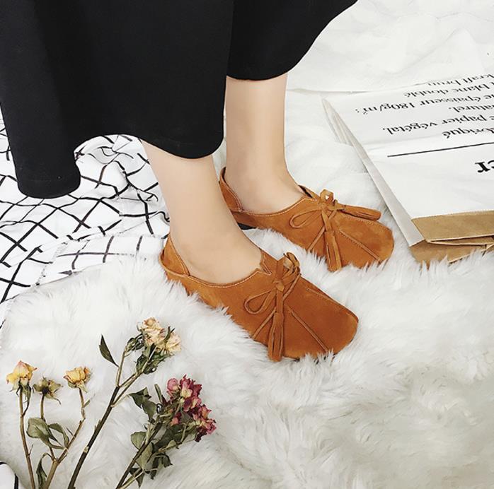 Redonda Apoyo Borla Perezoso Las Planos verde Claro Los Cabeza Vistiendo 2018 Otoño Mujeres Zapatos Frijol Escoge Dos chocolate Suaves De Negro qv5xntA