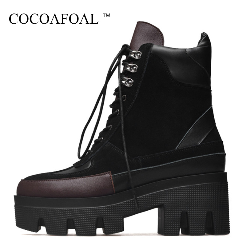 COCOAFOAL Woman Winter Lace Up Martin Boots Fashion Genuine Leather High Heeled Ankle Boots Black Nubuck Leather Chelsea Boots spring nubuck genuine sheepskin leather up