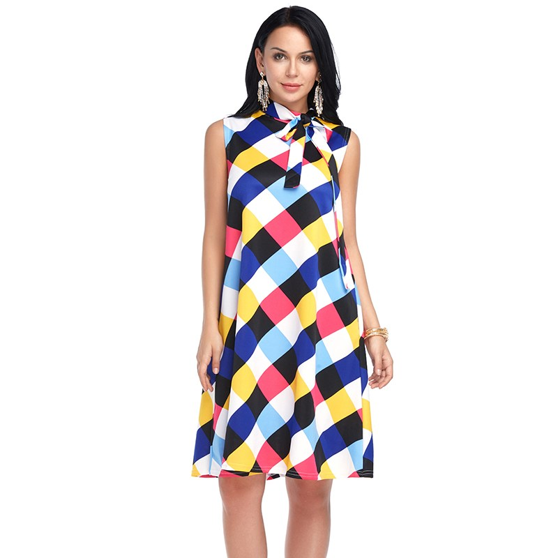 US $13.96 41% OFF|Women Plaid Off shoulder Dress Spring Summer Dresses Plus  size Sleeveless Ladies Fashion XXL Loose Casual Office lady-in Dresses ...