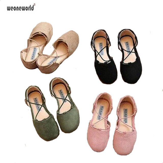 e7c93296bc7e WEONEWORLD Fashion 2018 summer kids shoes for girls suede lace-up flats  sandals ankle strap handmade cross tied ballet flats