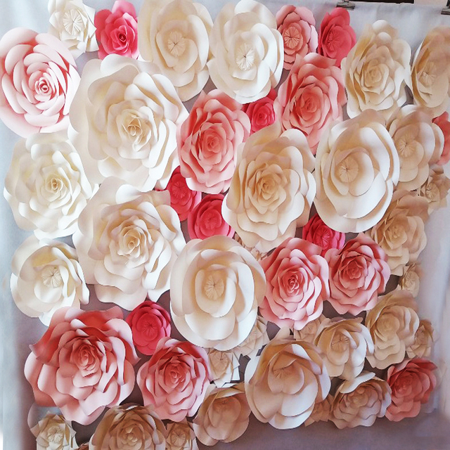 Us 749 0 49pcs Set Simulation Giant Paper Flower Stereo Hand Finished Rose For Wedding Backdrop Full Wall Decorations Deco 2 2 5 Meters In Party
