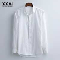 Classic Men Breathable Cotton Linen Formal Dress Shirts Business Office Work Camisa masculina Long Sleeve Wedding White Shirt