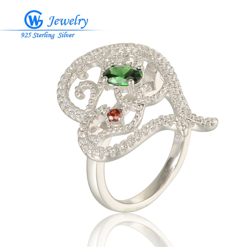 GW Fashion Jewelry Shining Elegant Rhinestone Ring Women 925 Sterling Silver CZ Crystal Rings RIPY050H20