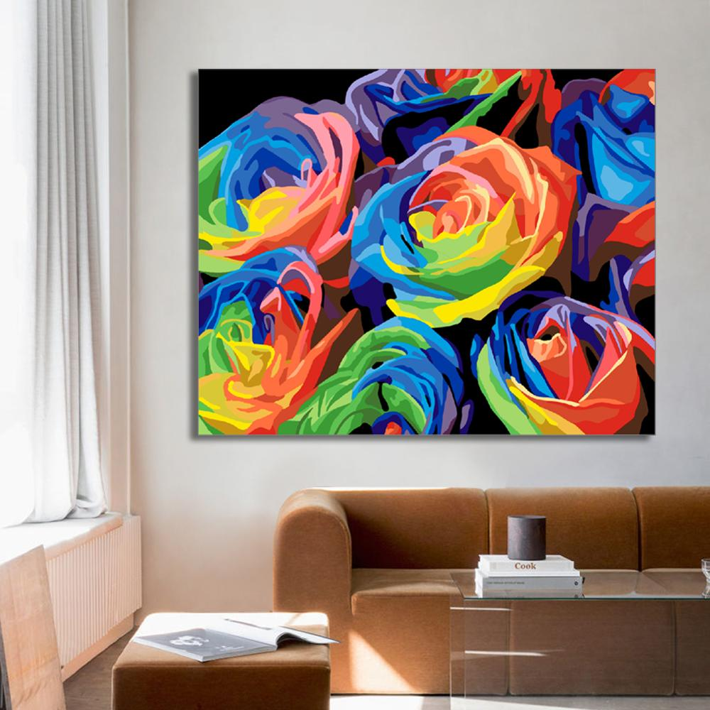 WEEN Colorful rose Framed Oil Paint By Numbers Modern Wall Art Picture Home Decor DIY Painting By Numbers Acrylic Paint 40x50cm in Painting Calligraphy from Home Garden