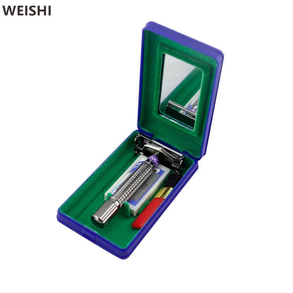 WEISHI 9306 Double edge Manual Shaver Men Safety Razor with travel plastic case