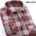 Port&Lotus Men Shirt  Casual Long Sleeve Plaid  100% Cotton Thicken Colorful Spring Autumn 150 Men Clothes Camisa Masculina