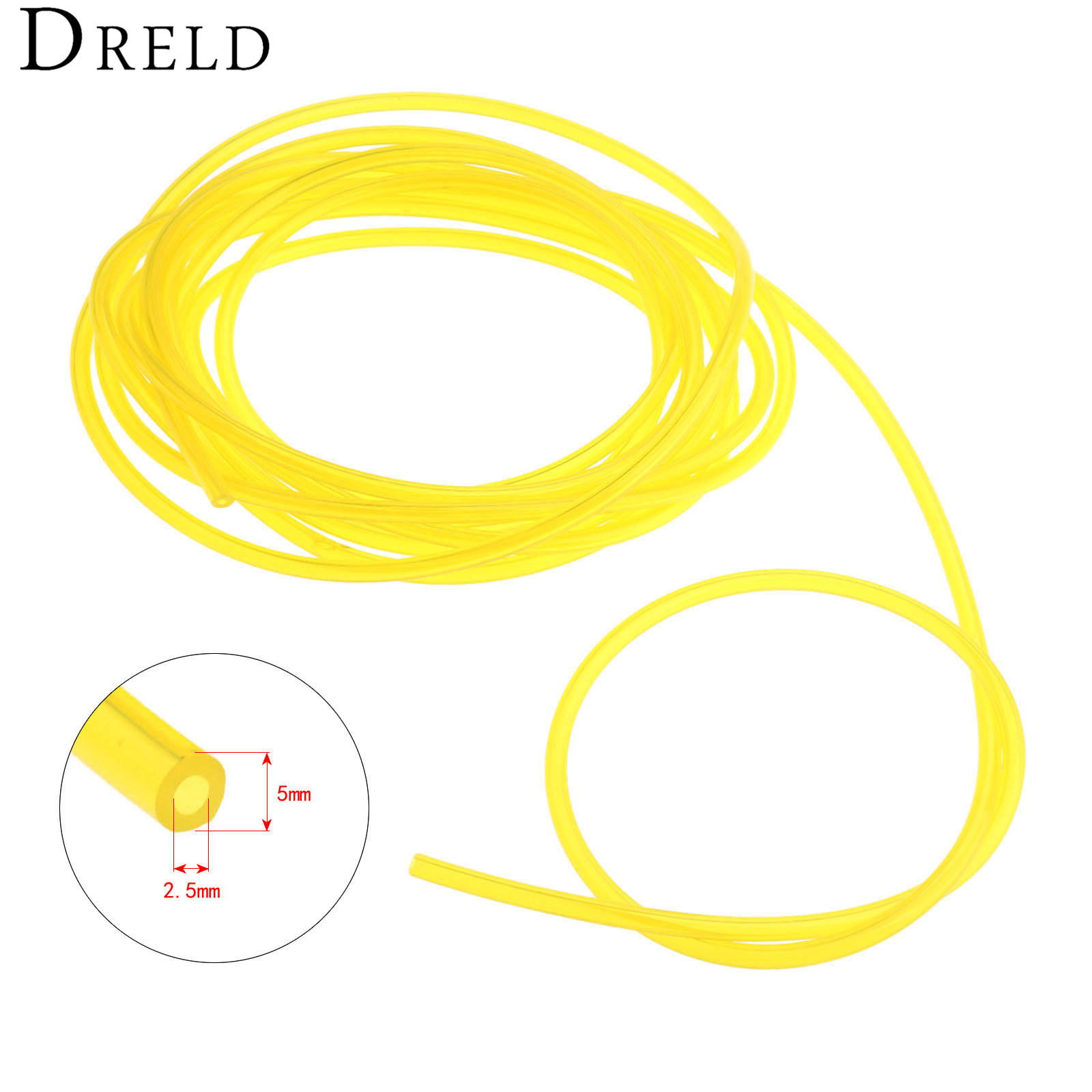 DRELD 5M Length Gas Engine Machine Oil Pipe Fuel Hose Diameter 2.5mm*5mm For Trimmer Chainsaw Garden Tool Parts 6617 fuel gas line pipe hose for poulan craftsman weedeater 530069216 trimmer chainsaw blower yellow fuel line 2 5mm x 10m