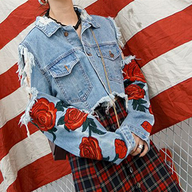 Rugod Rose Embroidery Denim Jacket For Women Coat Autumn Ripped Hole