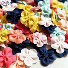40pcs mix color ribbon flowers apparel sewing accessories DIY appliques home decoration crafts free shipping A171