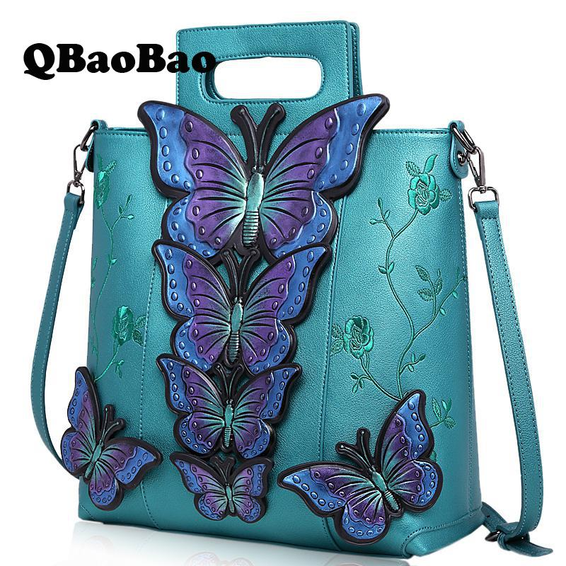 New 2017 Embroidered Butterfly Women Bag Tote Vintage Shoulder Crossbody Bags For Women Fashion Female Handbag ellacey 2017 women handbag shoulder bags tote purse girl casual shoulder crossbody bag vintage saffiano new fashion women bag
