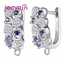 Jemmin S925 Sltering Sliver Náušnice Inlay Colorful Micro Crystal Prong Nastavení Hoop Bijoux Designed For Wommen Wedding Accesso