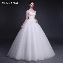 VENSANAC 2018 Strapless Lace Flowers Appliques Ball Gown Wedding Dresses Off The Shoulder Bow Sash Backless Bridal Gowns