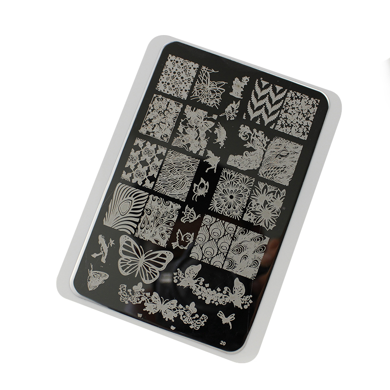 Big Size Nail Stamping Plates Nail Template 1 X Mixed Design Stainless Steel Nail Art Stamp Template Manicure Nail Tools 14.5x9