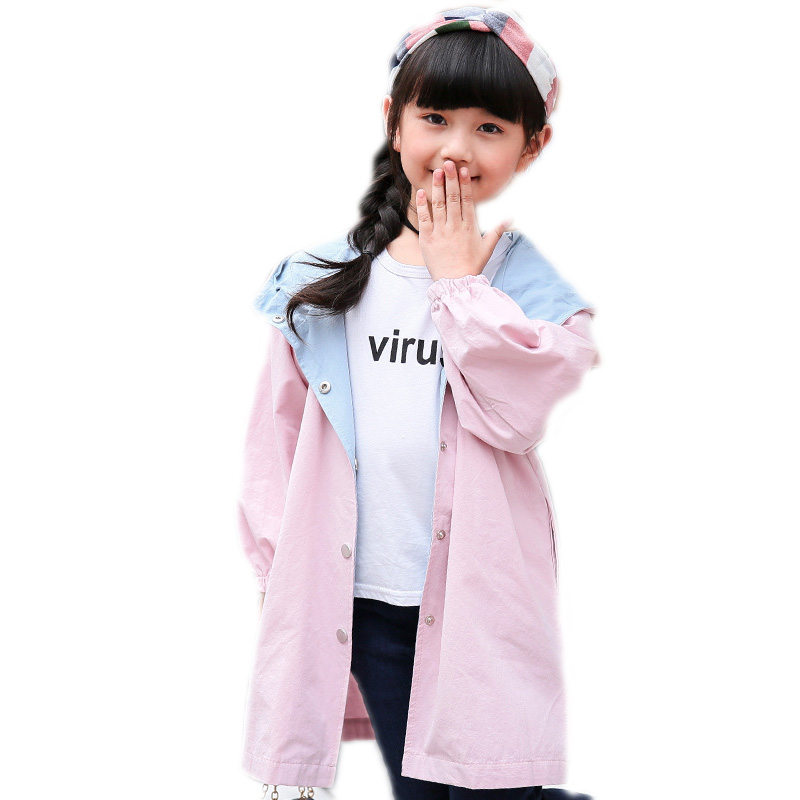 2018 new spring autumn girls jackets and coats letter printed long section kids girls trench coat hooded children outwear 5-11T цены