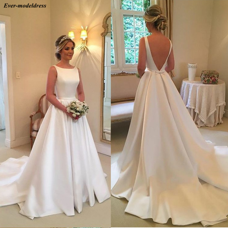 Satin Simple Wedding Dresses 2019 A-Line O-Neck Sleeveless Backless Sweep Train Bow Elegant Bridal Gowns Robe De Mariee Cheap