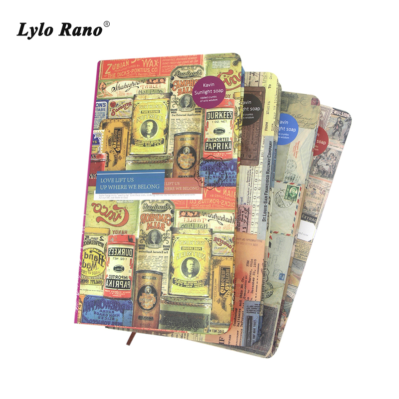 48K Retro Hard Cover Notebook Vintage Stamps Classic Design Colored Page Blank/Horizontal Line Notepad Travelers Notebook emma page hard evidence