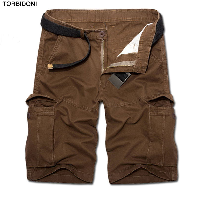 Summer Mens Baggy Multi Pocket Military Cargo Shorts Breeches Male Zipper Fly Army Green Men Tactical Short Knee Length Bermuda