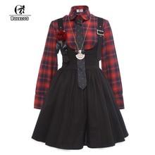 hot deal buy rolecos new arrival gothic style women lolita dress plaid shirt with suspender skirt vintage women punk lolita dresses