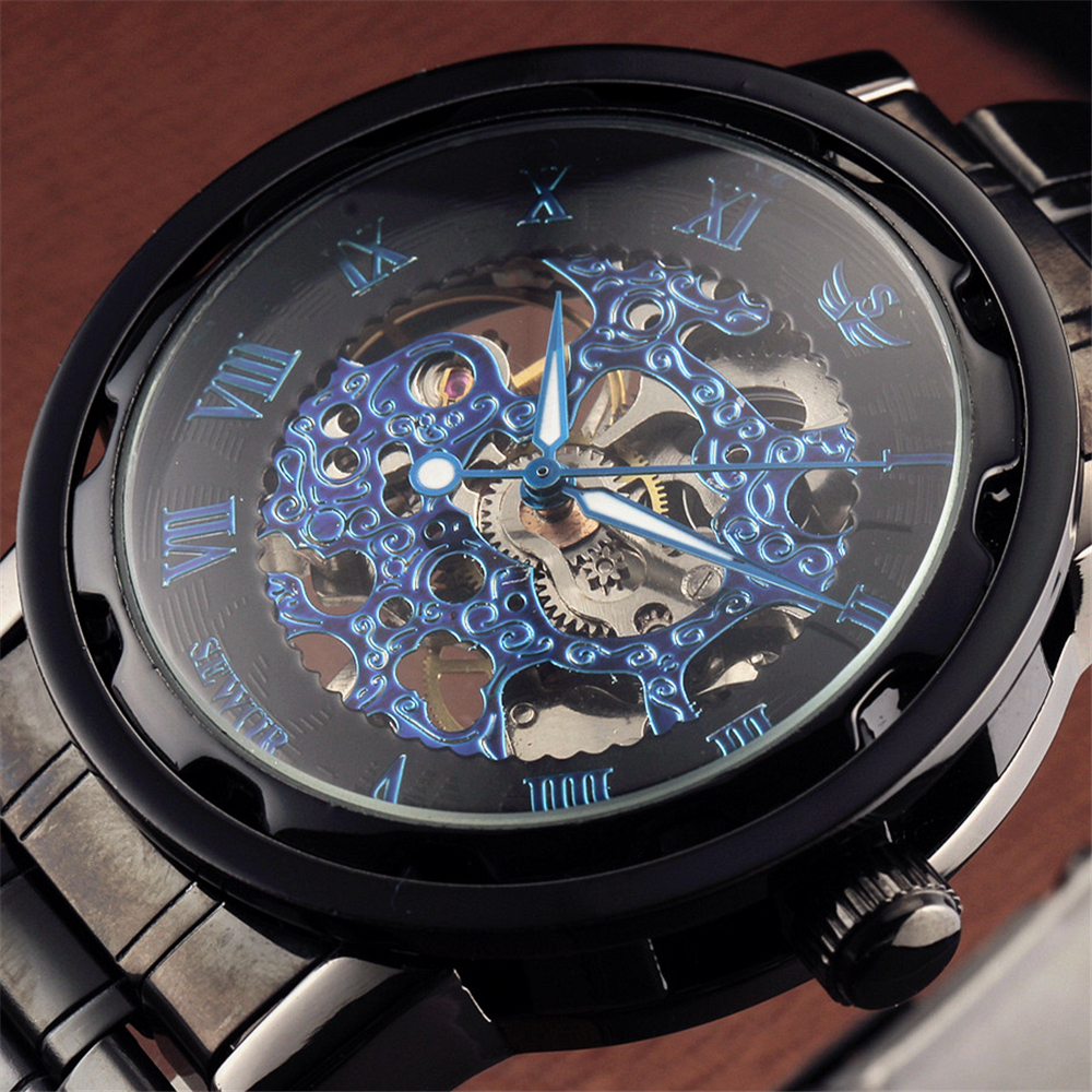 SEWOR Brand Mens Luxury Skeleton Mechanical Watch Black Stainless Steel Bracelet Military Watches Men Roman Dial Steampunk Clock  wholesale wilon mens stainless steel mechanical skeleton watch