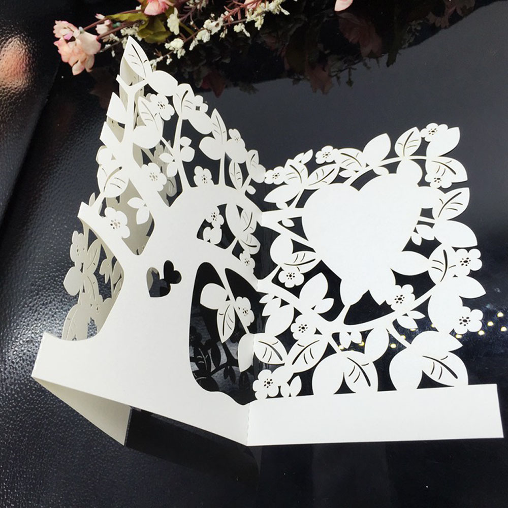 10pcs/set Creative White Laser Cut Wedding Invitation Card Celebration Heart Carved Birthday Wedding Invitation Card Party Favor 1 design laser cut white elegant pattern west cowboy style vintage wedding invitations card kit blank paper printing invitation