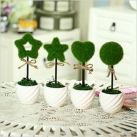 2Pcs Creative Stationery Personalized Cute Artificial Green Grass Turf Of The Office Of Artificial Flowers Potted