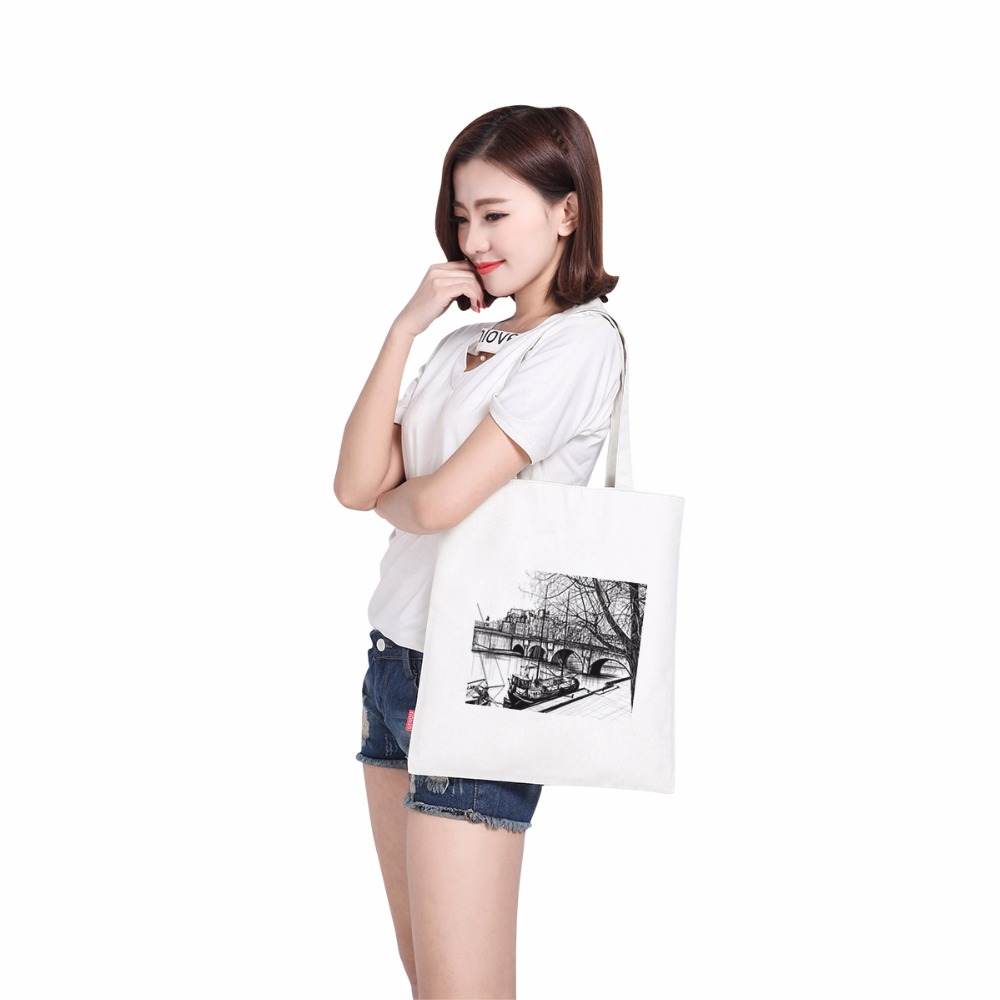 Free shipping waterproof canvas printing bags handbag lady fabric bag shoulder strap girl lady sex women bag hanger