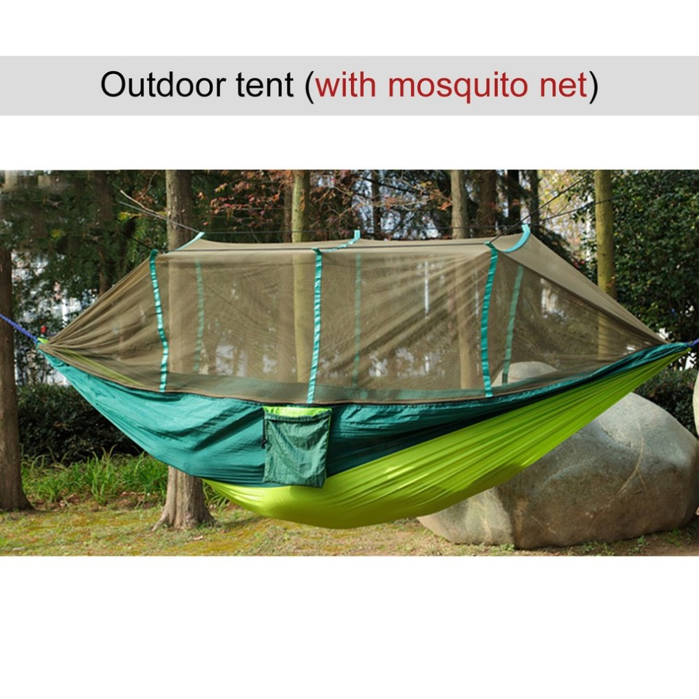 2018 Large Nylon Outdoor Hammock Parachute Cloth Fabric Portable Camping Hammock With Mosquito Nets for 1-2 Person 260cm*130cm camping hammock moko outdoor double hammock 2 person portable parachute hammock swing with straps travel hammock for camping