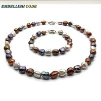 Nice Hong Kong color selling well Stunning baroque Irregular real pearl necklace bracelet set peacock brown gray for girl women