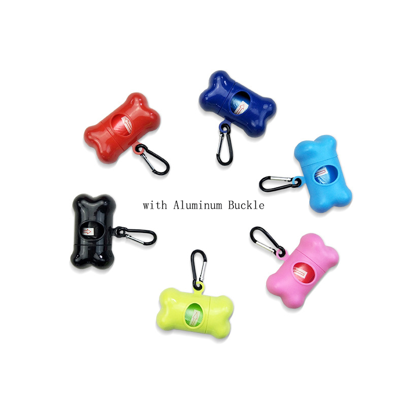 Mini Pet Dog Bone Shape Waste Garbage Dispenser Box with Aluminum Buckle 15pcs Disposable Clean Up Bags Holder Case Pet Supply in Pooper Scoopers Bags from Home Garden