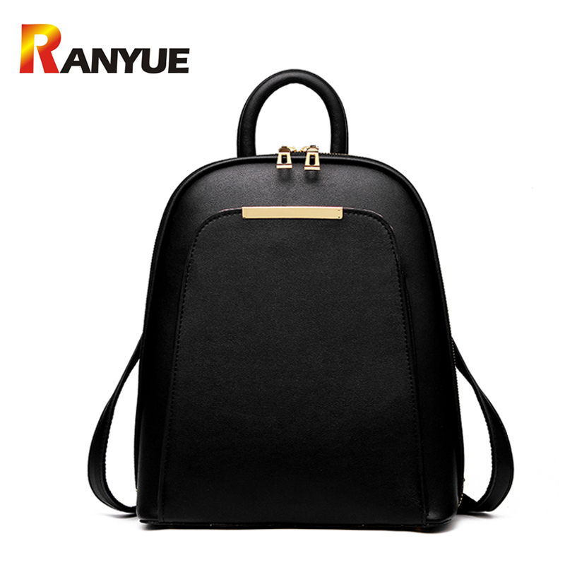 Fashion Women Backpack 2017 Solid PU Leather Backpacks For Teenage Girls School Bag Women Shoulder Bag Ladies Black Backpack New 2017 fashion women waterproof oxford backpack brand new ladies black backpacks for teenage girls school student shoulder bags