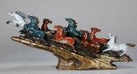 Чистого цвета меди восемь лошадей орнамент скульптуры художественный стиль ремесла украшение подарок дома кухонная утварь часы старый руч