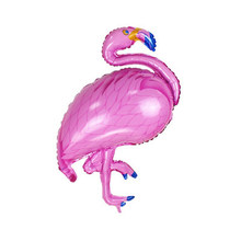 Grote Vogel Roze Blauw Paars Flamingo Mylar Ballonnen Birthday Party Kid Tropische Hawaiiaanse Luau Party Decor Anniversary Vieren(China)
