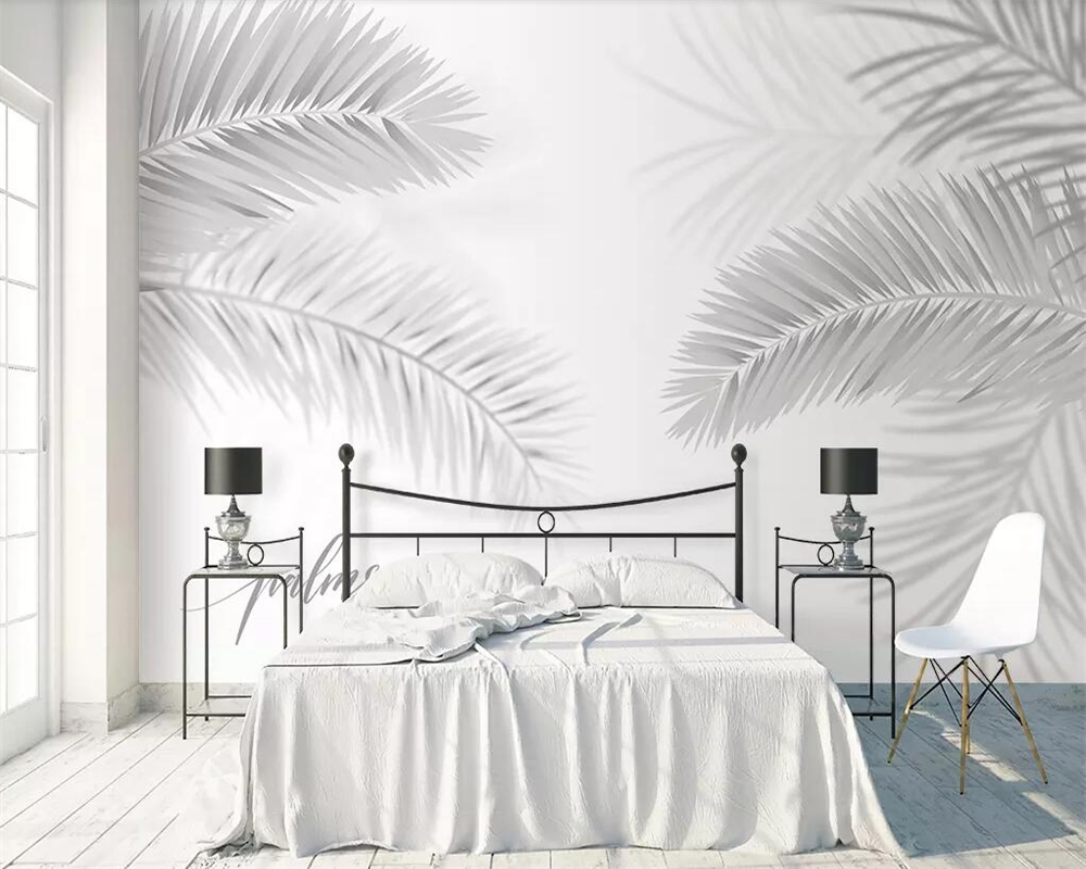 Us 8 4 44 Off Beibehang Grey Mural Wallpaper Nordic Minimalist Plant Coconut Leaf Palm Tree Living Room Bedroom Tv Background 3d Wallpaper In